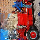 Parading Antique Fire Truck Abstract Impressionism by pjwuebker