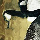 Canada Geese on Water Abstract Impressionism by pjwuebker