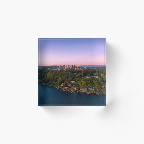 Bellevue Cityscape Sunset 001 Acrylic Block