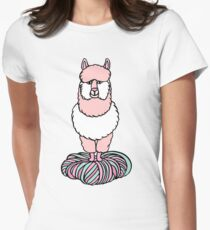 Cute pink lama with yarn Womens Fitted T-Shirt