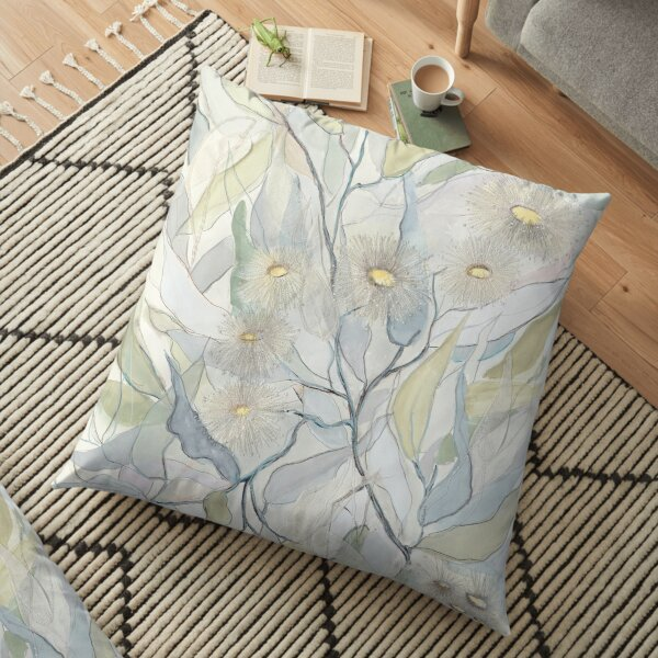 Soft Gentle Gum Leaves and Flowers Floor Pillow