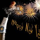 Happy New Year Greeting With Champagne and Fireworks by taiche