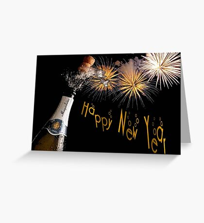 Happy New Year Greeting With Champagne and Fireworks Greeting Card