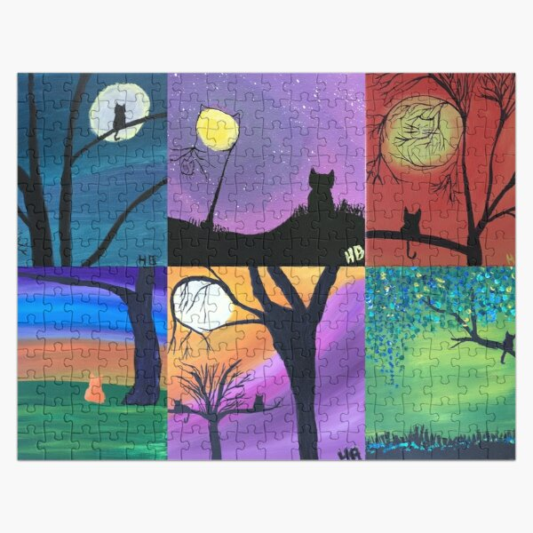 Cat Silhouette Collage Jigsaw Puzzle