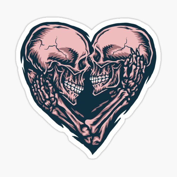 Skull Couple Heart Sticker