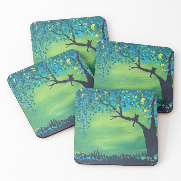 Cat on a tree branch with colorful leaves Coasters (Set of 4)