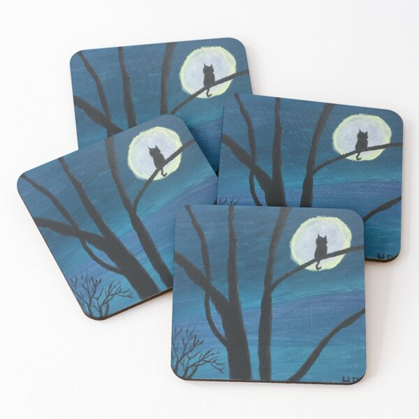 Cat Silhouette in the Moon Coasters (Set of 4)