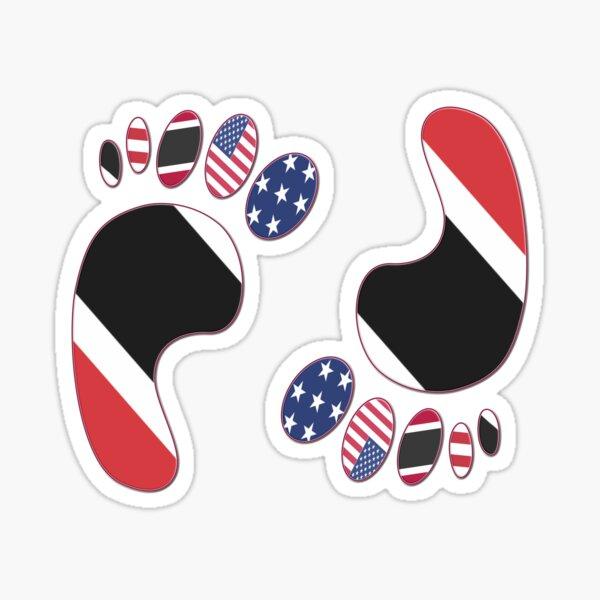 FOOTPRINTS USA & TRINIDAD AND TOBAGO FLAG AMERICAN TRINIDADIAN  Sticker