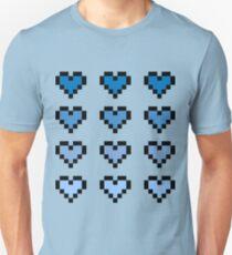 12 Pixel Hearts - Blue Gradient T-Shirt