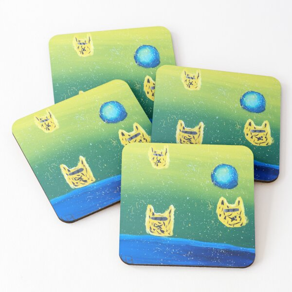 Cat Space Ships Coasters (Set of 4)