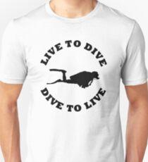 LIVE TO DIVE DIVE TO LIVE BLACK SCUBA T-Shirt