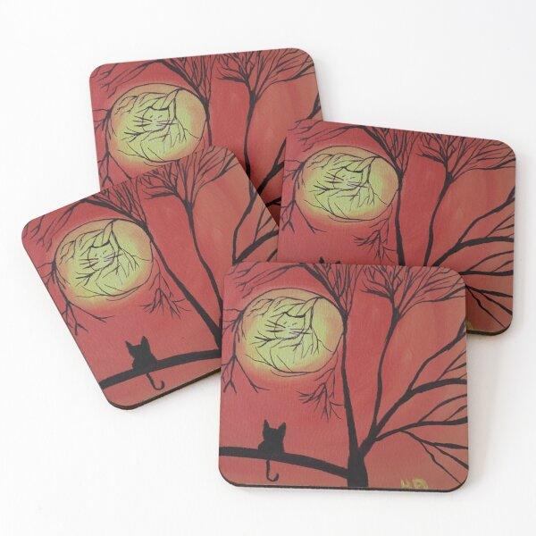 Cat face branches Coasters (Set of 4)