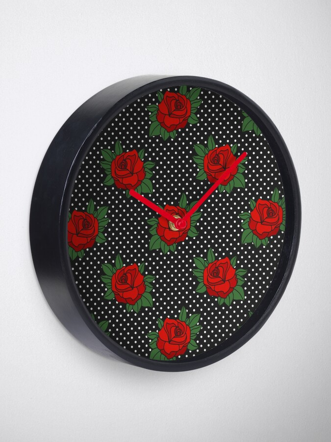 Alternate view of Retro Sixties Rockabilly red roses on polka dots Clock