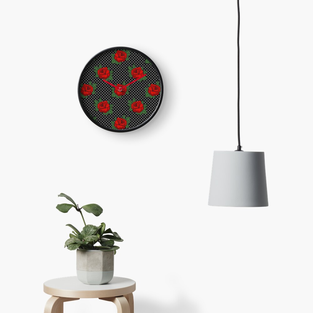 Retro Sixties Rockabilly red roses on polka dots Clock
