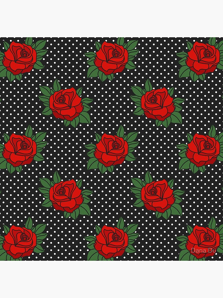 Retro Sixties Rockabilly red roses on polka dots by danadudesign