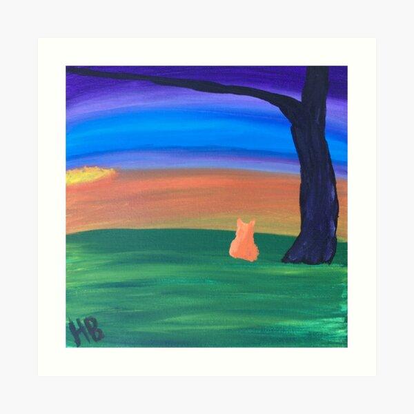 Orange cat watching sunset Art Print