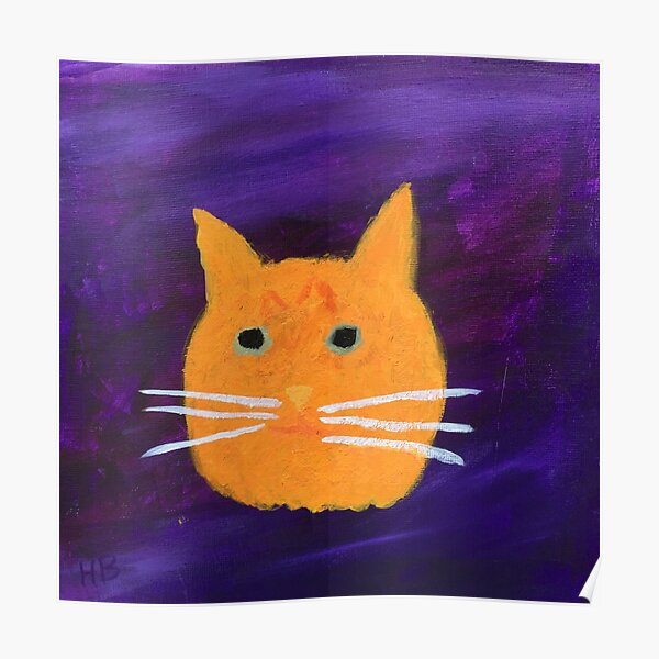 Orange Tabby Cat Face Abstract  Poster