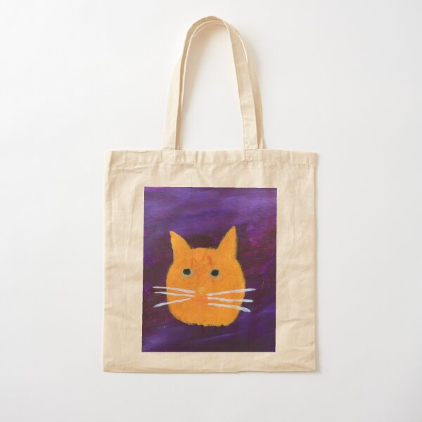 Orange Tabby Cat Face Abstract  Cotton Tote Bag