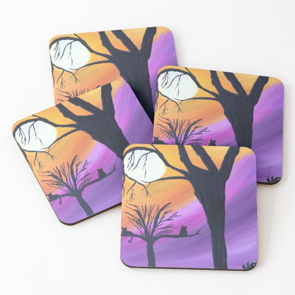 Two cats in a tree Coasters (Set of 4)