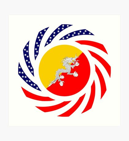Bhutanese American Multinational Patriot Flag Series Art Print