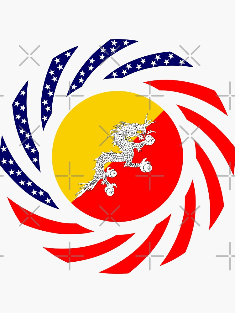 Bhutanese American Multinational Patriot Flag Series by carbonfibreme