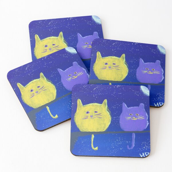 Two Plumpy Cats Coasters (Set of 4)