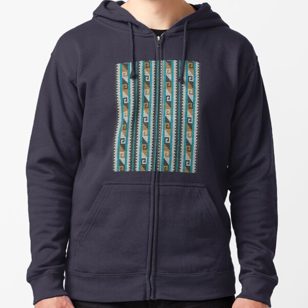 Southwestern beaded bohemian aztec motif dark Zipped Hoodie