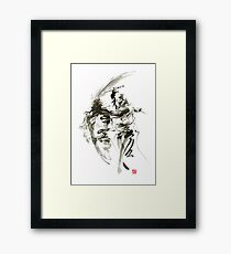 Samurai sword bushido katana short knife ninja shadow martial arts sumi-e original ink painting artwork Framed Print