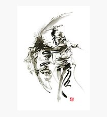 Samurai sword bushido katana short knife ninja shadow martial arts sumi-e original ink painting artwork Photographic Print