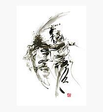 Samurai sword bushido katana short knife ninja shadow martial arts sumi-e original ink painting artwork Photographic Print