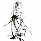 Samurai sword bushido katana martial arts sumi-e original ink painting artwork by Mariusz Szmerdt