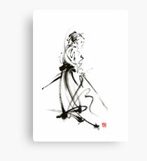 Samurai sword bushido katana martial arts sumi-e original ink painting artwork Canvas Print