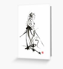 Samurai sword bushido katana martial arts sumi-e original ink painting artwork Greeting Card