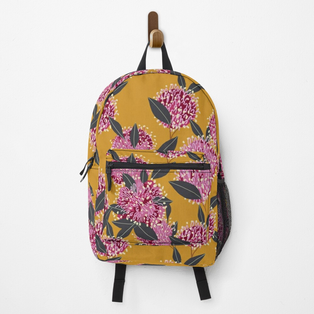 Groovy Grevillea on mustard  Backpack