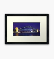 Sydney Harbour Bridge at night. Framed Print