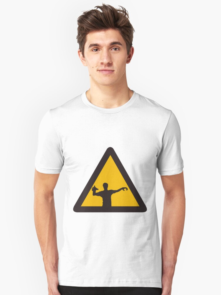 Warning - Zombies Unisex T-Shirt Front