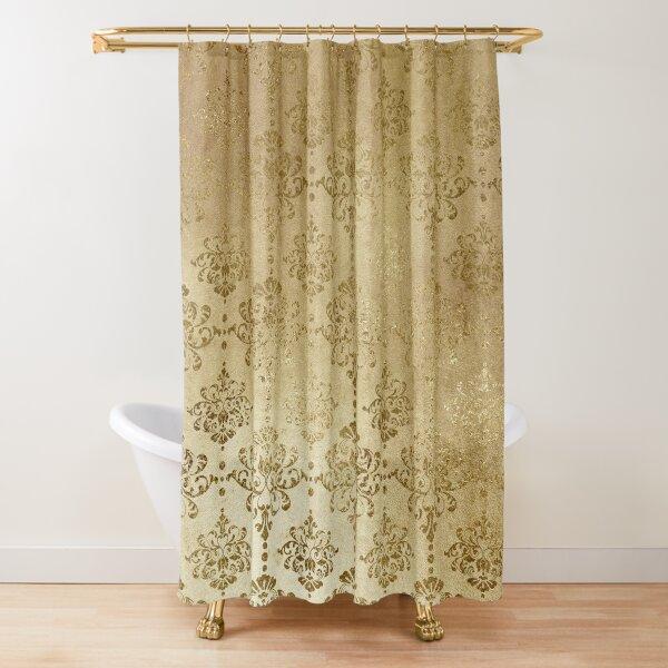 Elegant Gold On Gold Faux Glitter Damask Shower Curtain