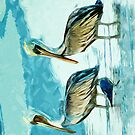 Brown Pelican in Winter Colors Abstract Impressionism by pjwuebker