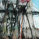 Old Ironsides Boston Harbor Abstract Impressionism by pjwuebker