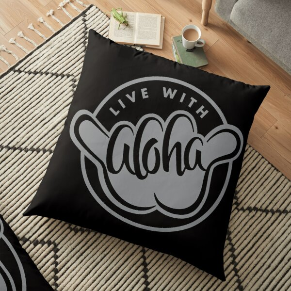 Live With Aloha - Gray Reversed Floor Pillow