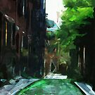 Cobblestone Street Beacon Hill Boston Abstract Impressionism by pjwuebker