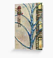 Child on a blue tree Greeting Card