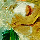 Shaggy White Angora Goat Abstract Impressionism by pjwuebker
