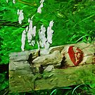 Red Lipped Totem Among Flowers Abstract Impressionism by pjwuebker