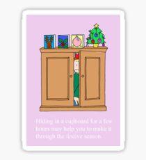 Christmas stress, hiding away from the festivities. Sticker