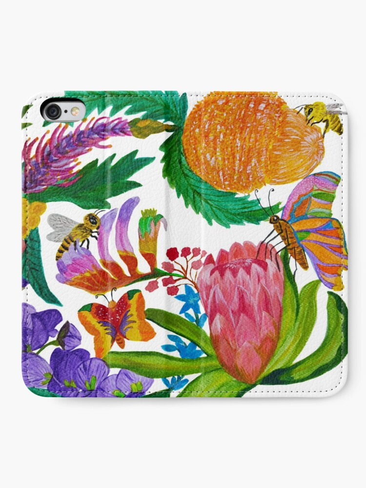 Alternate view of Australian native flowers wreath with bees and butterflies iPhone Wallet