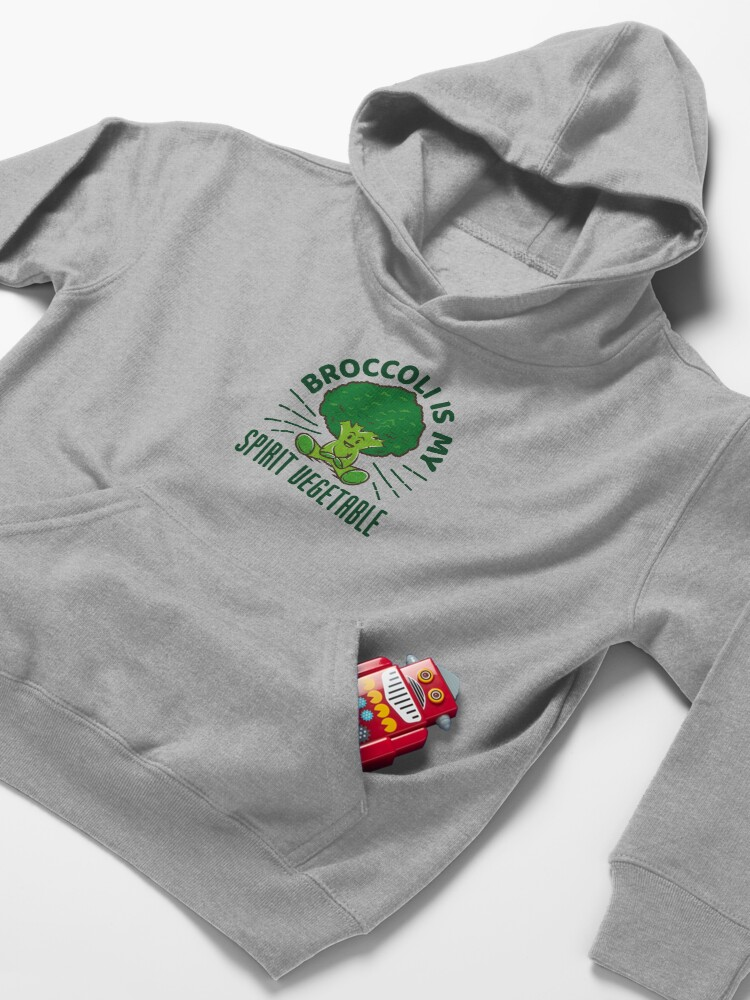 Alternate view of Funny Broccoli Gift - Broccoli Is My Spirit Vegetable Kids Pullover Hoodie