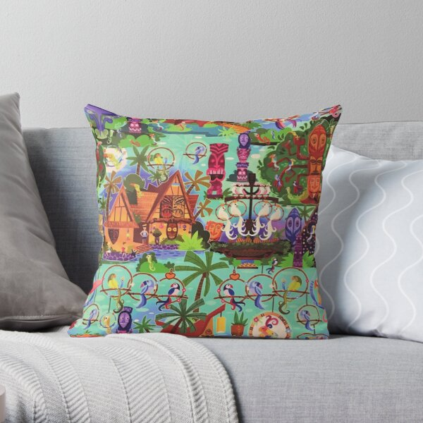 The ORIGINAL Enchanted Tiki Room Collage Throw Pillow