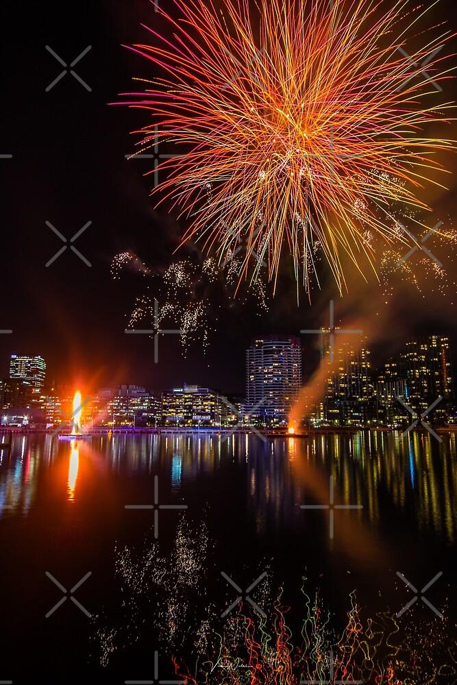 Winter Firelight Festival, Docklands, Melbourne, Victoria, Australia. by Vicki Walsh