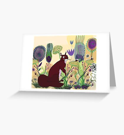 squirrel and plants Greeting Card